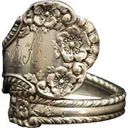 Antique Sterling Spoon Ring Marked 1904 English Engraved & Signed Size 10 PAT 1899