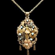 "SALE Antique Mexican Victorian 14K Bird Pendant ""Pajarito"" or Lil Bird Pendant Brooc"