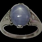 Ladies Platinum Star Sapphire Ring