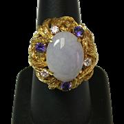 14k Vintage Lavender Jade with 3 diamonds & 3 Amethyst rings SZ 7.5