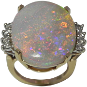 Huge Opal & Diamond Ring