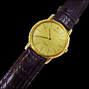 Vintage 1988-81 CORUM 18k Yellow Gold Swiss Quartz Mens Watch Black Leather Strap