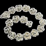 SALE Vintage Boucher Parisina Mexico Sterling Silver Floral Choker Necklace