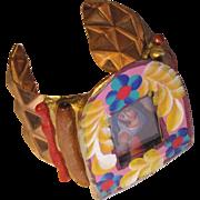 SALE Praying Mary Artisan Mexican Folk Art Cuff Bracelet