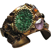 Sumptuously Bejewelled Napier Faux Jade Artisan Cuff, Mid Century Faux Stones