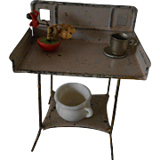 SOLD ***Antique miniature washing table for your antique doll house****