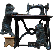 REDUCED Extremely rare antique  German Sewing Machine with playing CATS, approx 1890 made by .