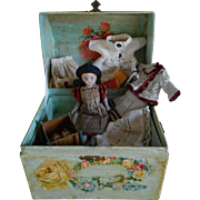 *** miniature Parian doll**** including trousseau with wardrobe and toys***Gorgeous !!!!!