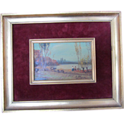 """SALE Antique """"Farmers by the Lake"""" Painting-Signed A. Romeno"""
