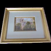 SALE Antique Gouache Painting of a Church-signed J. Copley 1911
