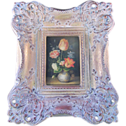SALE Floral Still Life Hand Painted Oil on Wood- Ornately Framed -Signed Fielder