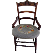 SALE Antique Wooden Needlepoint Seat Chair-Floral and Berry Motif