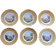 SALE Set Of 6 Pratt Ware Hand Painted Scenic Decorative Plates - Gold Gilt Cherub Rim
