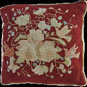 SOLD Vintage Needlepoint Pillow 18x18 Velvet Back-Bird/Floral Motif