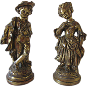 SALE Borghese Italian Gold Painted Boy and Girl Resin Figurines