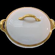 "SALE Vintage Union Ceramique Limoges 10.5"" Round Covered Dish-White & Gold Laurel Trim"