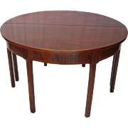 SALE Pair of Early 19th Century Demi Lune Mahogany Inlaid Tables
