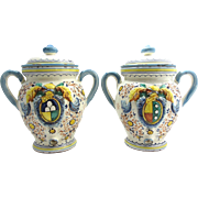REDUCED Vintage Italian Faience Handled Jars-Hand Painted