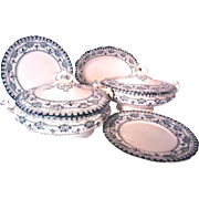 REDUCED Antique Set of Maltese Serving Semi-Porcelain by JHW and Sons