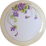 """SALE 8.5"""" Vintage Violet Plate- Signed by Hauk by P.T- Bavaria"""