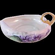 SALE Vintage Luster Ware Leaf Shaped Violet Dish-signed F.B