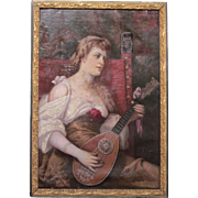 "Antique Original Signed Oil on Canvas of ""Woman Playing Mandolin""-1904"