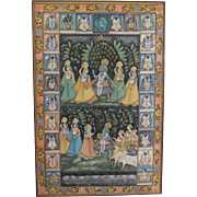 """SALE Traditional Vintage Hand Painted Indian Silk Tapestry-Framed-50""""H"""