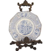 "REDUCED ""Abbey"" (L.P and Co. c1880)- Antique Blue and White Transfer Ware Plate 9"""