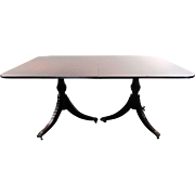 "SALE Antique Queen Anne Dining Table - 86.5""L with Leaf"