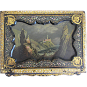 SALE Antique Black Lacquer Writing Travel Box- Oil Painting Cover