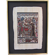 "REDUCED Signed Mounted and Framed Vintage Papyrus Egyptian Art Work 31.5""Tall"