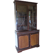SALE Antique Glass Paneled Wooden Cabinet- John Barker & Co.