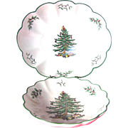 SALE Set of 2 Spode Christmas Tree Scalloped Bowls