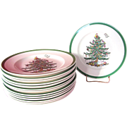 SALE Set of 14 Spode Christmas Tree Salad Plates 7.75""
