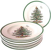"SALE Set of 10-Spode Christmas Tree 10.75""Dinner Plates"