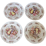 "SALE Set of 4 ""Windsor Fruit"" Vintage Johnson Bros. Plates 10"""