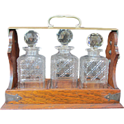 REDUCED Victorian Wood and Brass 3 Bottle Tantalus- circa 1860