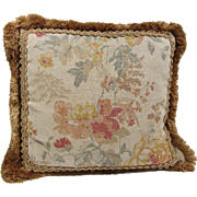 "REDUCED Vintage Floral Linen & Silk Pillow with Ornate gold Trim- 18"" Square"