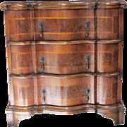 Small Italian 3 Drawer Walnut Commode with Brass Pulls