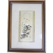 """Autumn Flowers"" Asian Silk Matted Print -10 x 14"""