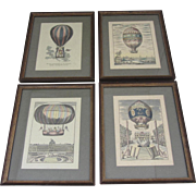 """Ballooning""-Set of 4 Hand Colored Etchings"
