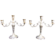 Pair of Vintage Silver Plate 2 Arm Candelabras