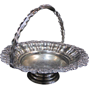 SALE Large Footed Silver Plate Handled Basket