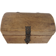 SOLD Vintage Rustic Leather Trunk Box with Metal Latch