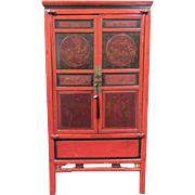 SALE Antique Chinese Red Lacquer Cedar Wood Cabinet circa 1850