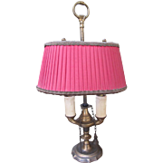 Antique Brass Candle Lamp with Crimson Shade
