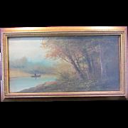 SALE Vintage Gold Framed Oil on Canvas of Man in a Canoe-Signed R. Lee
