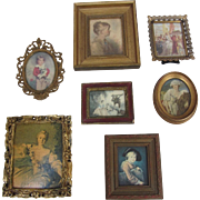 Set of 7- Vintage Italian Framed Miniature Prints