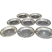 """REDUCED Set of 8 Kirk & Son Sterling Silver Repoussé Plates - 6.25"""""""