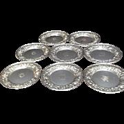 "Set of 8 Kirk & Son Sterling Silver Repoussé Plates - 6.25"""